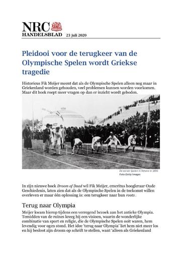 Pleidooi voor de terugkeer van de Olympische Spelen wordt Griekse tragedie
