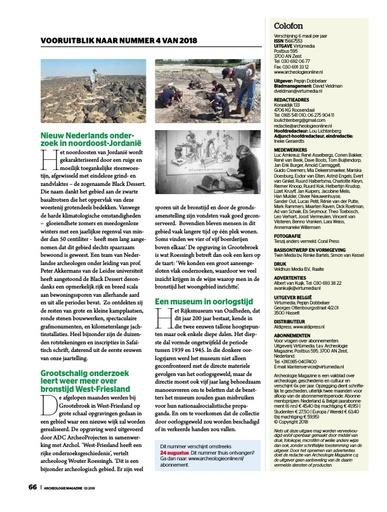 Aankondiging Archeologie magazine 2018-4