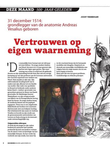 Vertrouwen op eigen waarneming Andreas Vesalius